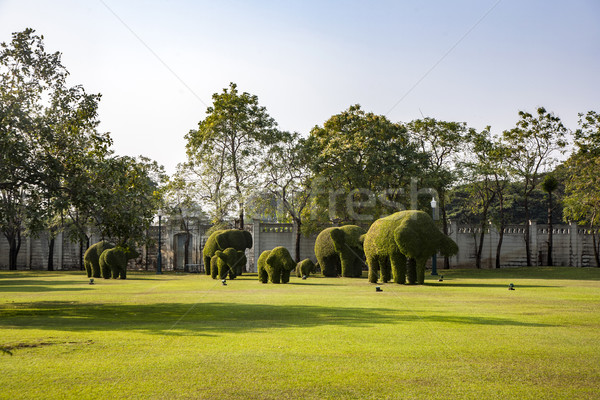 bushes cut to animal figufres in the park of Bang Pa-In Palace Stock photo © meinzahn