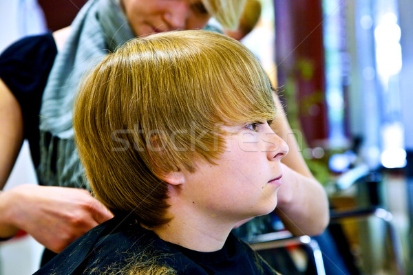 young boy  at the hairdresser Stock photo © meinzahn