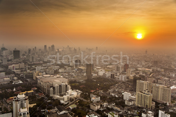 Bangkok skyline in sunset Stock photo © meinzahn