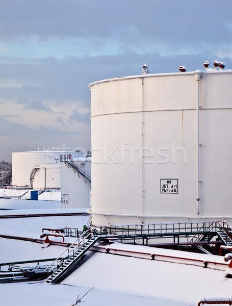 Witte tank boerderij sneeuw winter ijzer Stockfoto © meinzahn