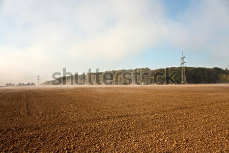 вверх туманный погода красивой пейзаж строительство Сток-фото © meinzahn