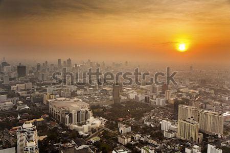 Görmek Bangkok ufuk çizgisi ofis bloklar Stok fotoğraf © meinzahn