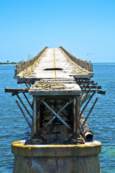 Vecchio marcio ponte strada Ocean tropicali Foto d'archivio © meinzahn