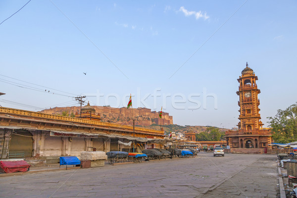 famous victorian clock tower in Jodhpur and view to fort Stock photo © meinzahn