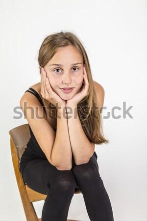 Fiatal lány barna haj ül iskola szék fiatal Stock fotó © meinzahn