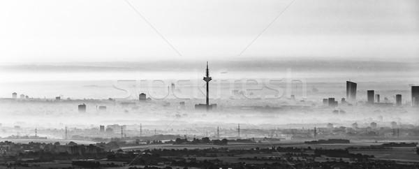 Frankfurt principal manhã dente linha do horizonte Foto stock © meinzahn