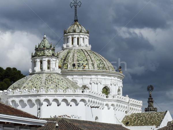 колониальный собора Эквадор Blue Sky крест искусства Сток-фото © meinzahn