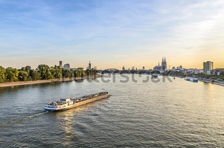 freight ship on river Rhine by Cologne in Germany Stock photo © meinzahn