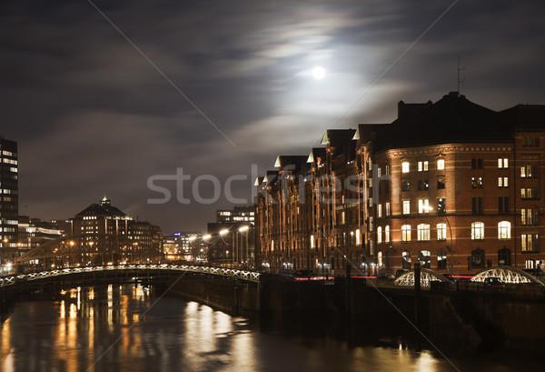 Historic Speicherstadt at night in Hamburg Stock photo © meinzahn