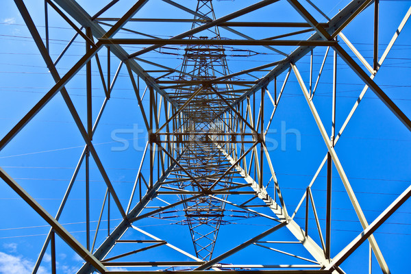 Steel electricity pylon on bright blue sky  Stock photo © meinzahn