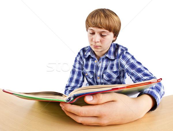 Foto stock: Inteligente · menino · aprendizagem · escolas · cara · tabela