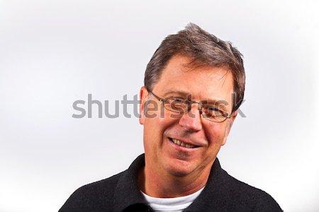 Glimlachend man geïsoleerd witte glimlach gezicht Stockfoto © meinzahn