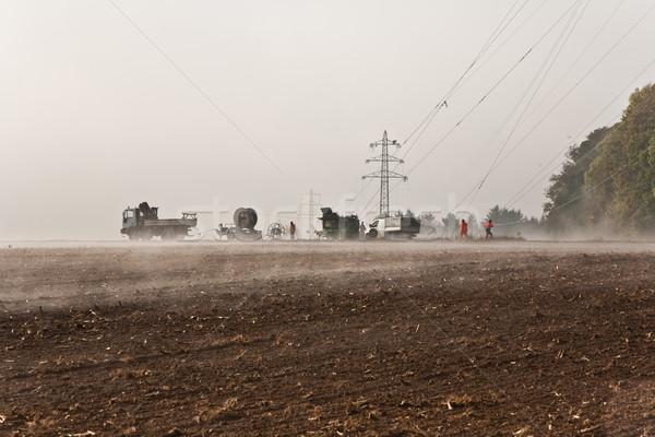 Felfelé ködös időjárás gyönyörű tájkép építkezés Stock fotó © meinzahn