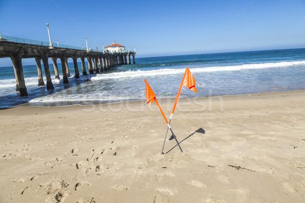 Interdit signe belle plage Californie ciel Photo stock © meinzahn