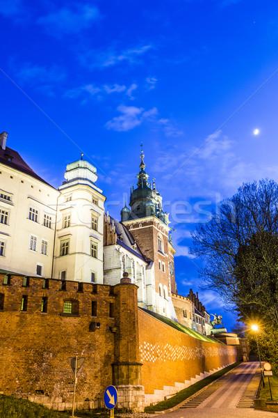 Domb éjszaka Krakkó megvilágított utca kastély Stock fotó © meinzahn