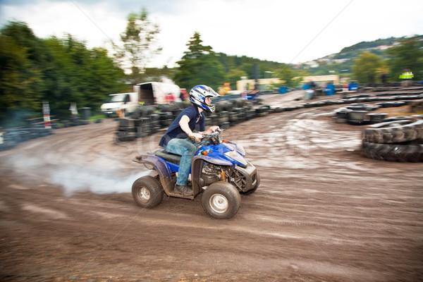 Sürücü yüz kirli spor yağmur Stok fotoğraf © meinzahn