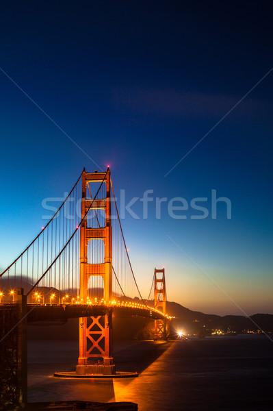 Golden Gate Bridge paisaje mar puente noche otono Foto stock © meinzahn