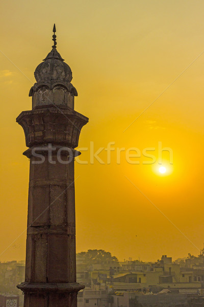 minaret in Delhi in morning sun Stock photo © meinzahn