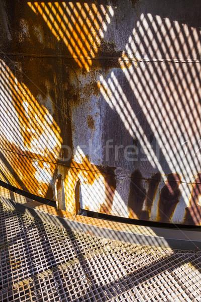 Minta rozsdás kémény tükröződés fiú nap Stock fotó © meinzahn