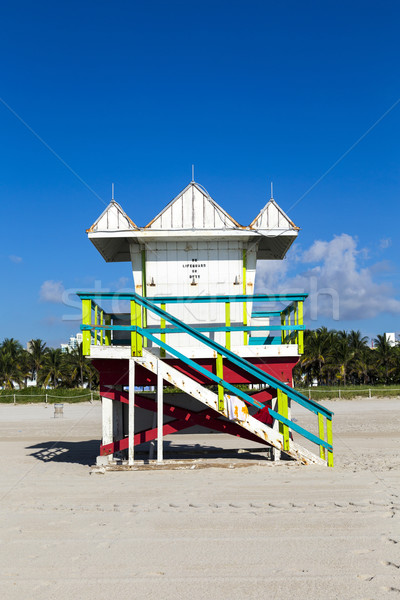 Lifeguard cabin on empty beach, Miami Beach, Florida, USA, safet Stock photo © meinzahn