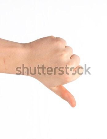 Teken hand geïsoleerd witte man Stockfoto © meinzahn