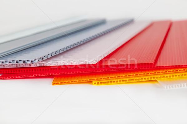 Verpakking materiaal verschillend kleuren plastic kantoor Stockfoto © meinzahn