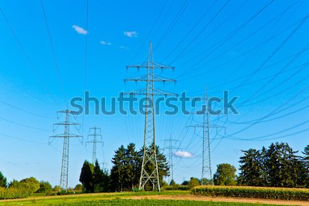 Steel electricity pylon on bright blue sky  Stock photo © meinzahn