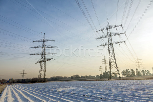 electrical tower in rural landscape with fields in foil Stock photo © meinzahn
