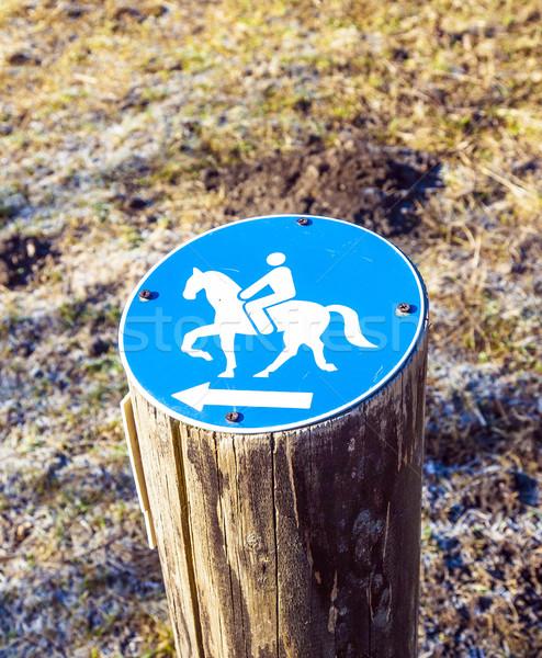 Felirat lovaglás megengedett természet fából készült kék Stock fotó © meinzahn