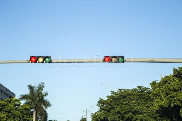 Kırmızı trafik ışıkları mavi gökyüzü gökyüzü Stok fotoğraf © meinzahn