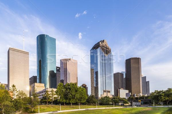 Sziluett Houston naplemente fényes fény iroda Stock fotó © meinzahn