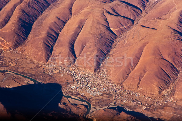 beautiful view from the aircraft to the mountains of the Himalay Stock photo © meinzahn