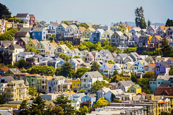 Stock fotó: Városi · San · Francisco · házak · égbolt · iroda · naplemente