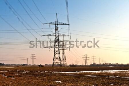 Eletricidade torre energia belo paisagem construção Foto stock © meinzahn