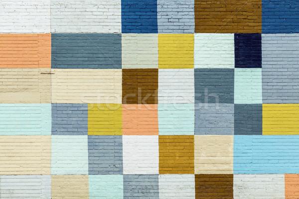 レンガの壁 描いた 虹色 古い 歴史的 壁 ストックフォト © meinzahn