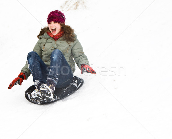 Hermosa niña trineo abajo colina nieve nina Foto stock © meinzahn