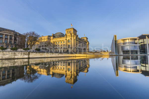 Reichstag with reflection in river Spree Stock photo © meinzahn