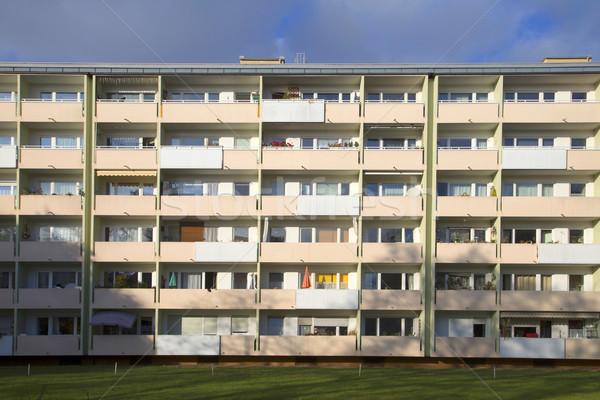facade with balconys of a social housing complex in Munich Stock photo © meinzahn
