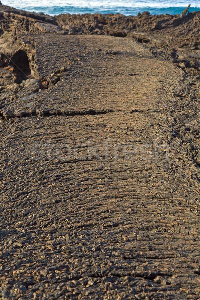Stenen vulkanisch stroom geven mooie structuur Stockfoto © meinzahn