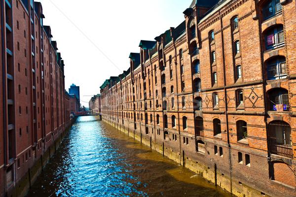 Amburgo canale noto vecchio costruire rosso Foto d'archivio © meinzahn