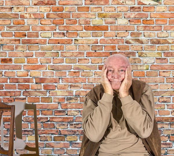 Portret starszych człowiek żal głowie Zdjęcia stock © meinzahn