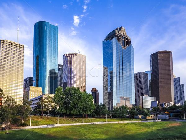 Sziluett Houston Amerika késő délután üzlet Stock fotó © meinzahn