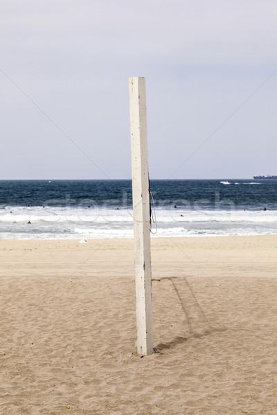Volleybal post strand Blauw water zomer Stockfoto © meinzahn