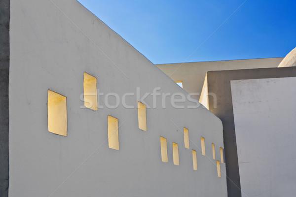Homlokzat ház nyitva ablakok napsütés napfény Stock fotó © meinzahn