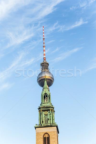 Berlin templom kék ég város televízió művészet Stock fotó © meinzahn