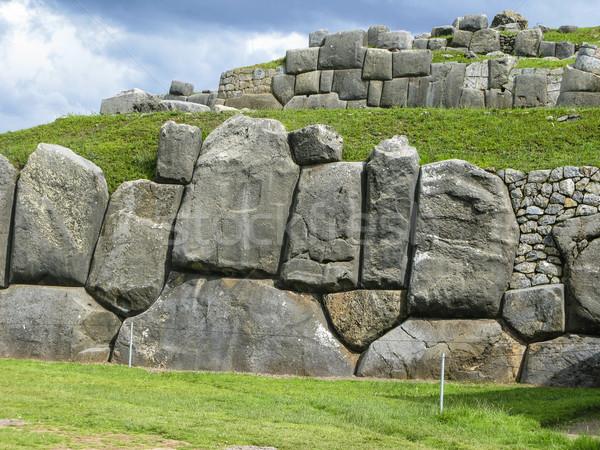 Sacsayhuaman, Incas ruins in the peruvian Andes at Cuzco Peru Stock photo © meinzahn