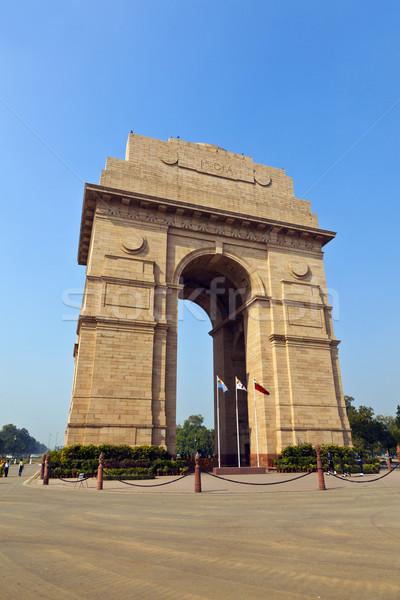 Híres India kapu Delhi város háború Stock fotó © meinzahn