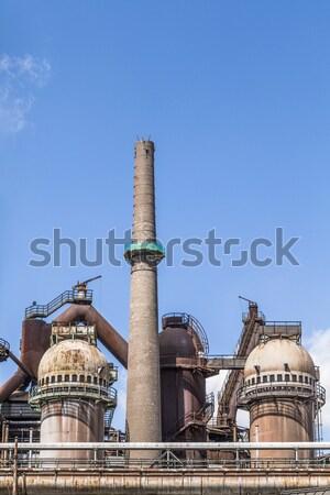 Stock fotó: Panoráma · vasgyár · fém · vonat · kék · ipar