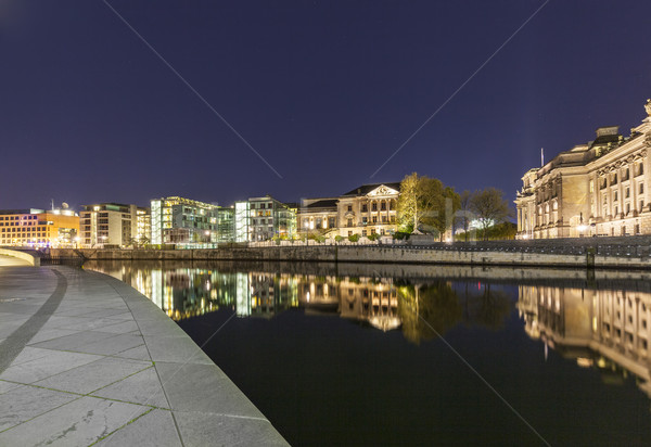 Bundestag buildings in Berlin Mitte with river spree by night Stock photo © meinzahn