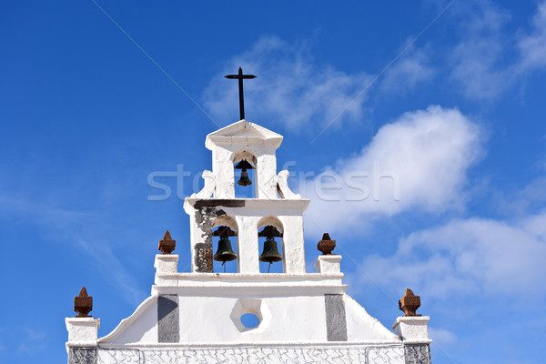 Mooie katholiek kerk hemel wolken kruis Stockfoto © meinzahn